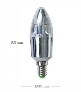 LED Candle Crystal E14 5W Silber